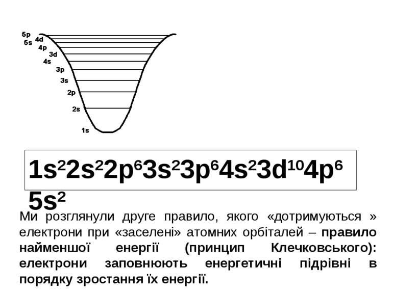 1s22s22p63s23p64s23d104p65s2 Ми розглянули друге правило, якого «дотримуються...