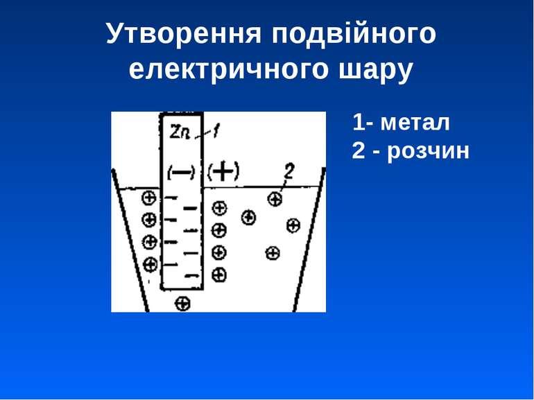 Утворення подвійного електричного шару 1- метал 2 - розчин