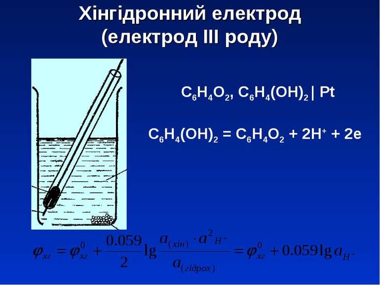 Хінгідронний електрод (електрод ІІІ роду) С6Н4О2, С6Н4(ОН)2 | Pt С6Н4(ОН)2 = ...