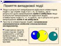 Поняття випадкової події Якщо в результаті випробування відбулася елементарна...