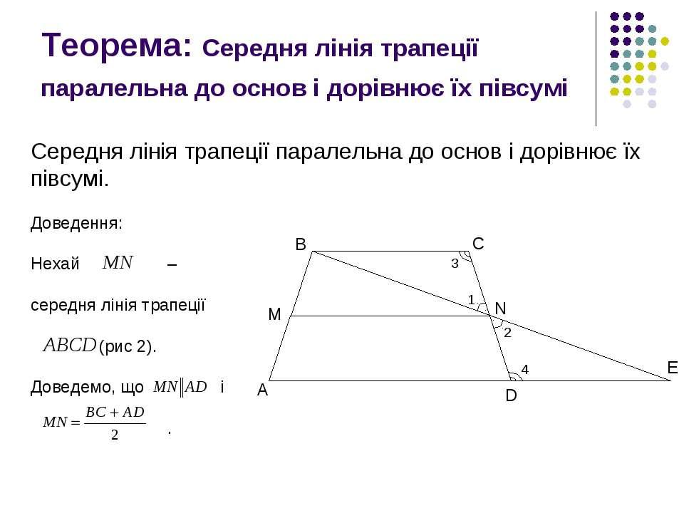 Теорема: Середня лінія трапеції паралельна до основ і дорівнює їх півсумі Сер...