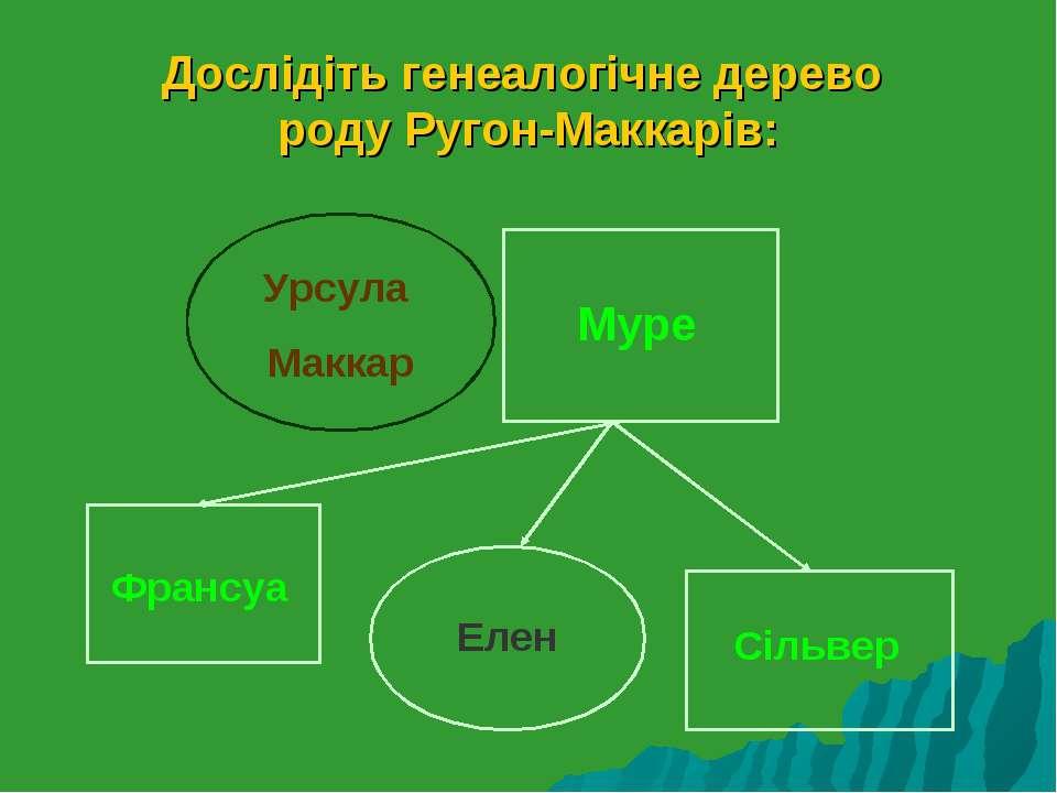 Дослідіть генеалогічне дерево роду Ругон-Маккарів: Урсула Маккар Муре Франсуа...