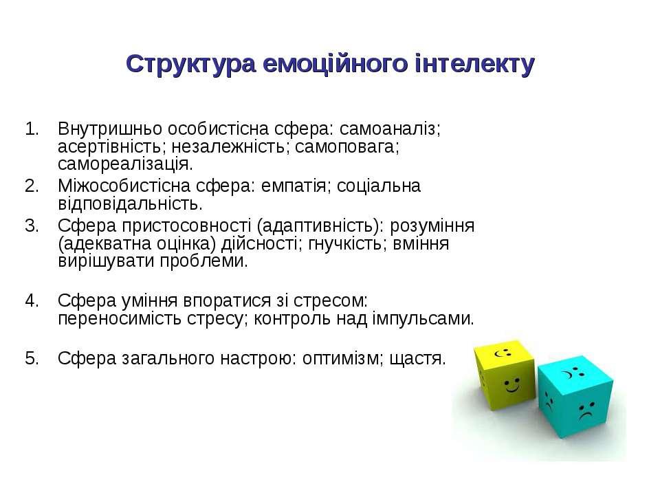 Структура емоційного інтелекту Внутришньо особистісна сфера: самоаналіз; асер...
