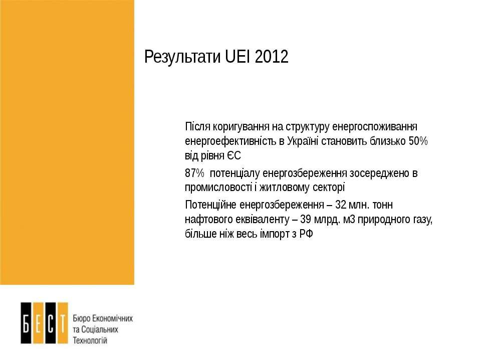 Результати UEI 2012 Після коригування на структуру енергоспоживання енергоефе...