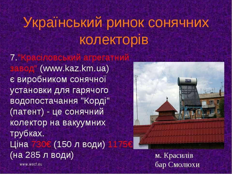 """7.""""Красіловський агрегатний завод"""" (www.kaz.km.ua) є виробником сонячної уста..."""
