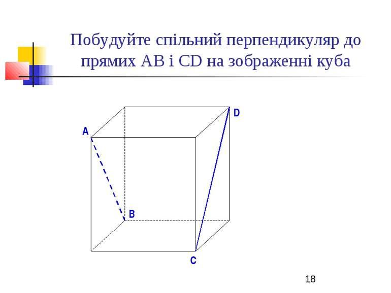 Побудуйте спільний перпендикуляр до прямих АВ і СD на зображенні куба B D A C