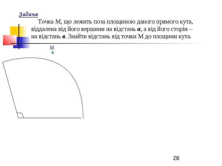 Задача Точка М, що лежить поза площиною даного прямого кута, віддалена від йо...