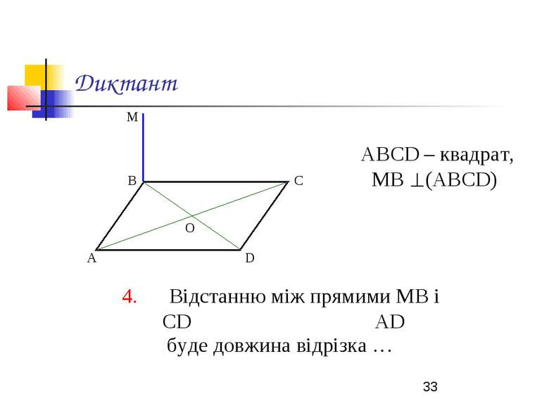 Диктант АВСD – квадрат, МВ (АВСD) 4. Відстанню між прямими МВ і СD АD буде до...