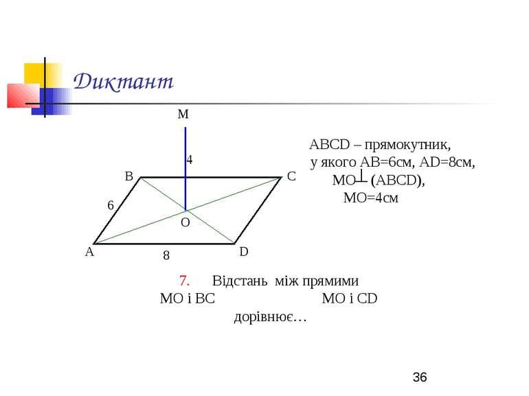 Диктант АВСD – прямокутник, у якого АВ=6см, АD=8см, МО (АВСD), МО=4см 7. Відс...