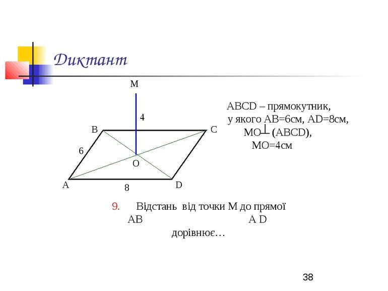 Диктант АВСD – прямокутник, у якого АВ=6см, АD=8см, МО (АВСD), МО=4см 9. Відс...