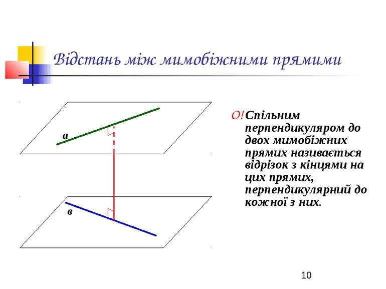 Відстань між мимобіжними прямими О! Спільним перпендикуляром до двох мимобіжн...