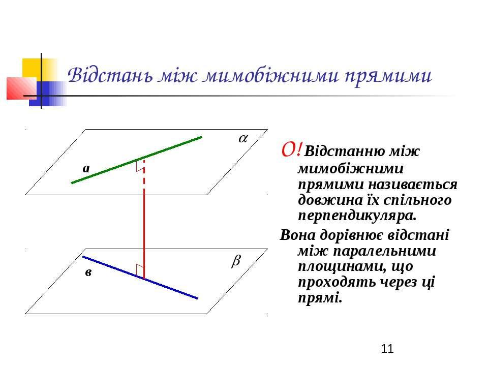 Відстань між мимобіжними прямими О! Відстанню між мимобіжними прямими називає...