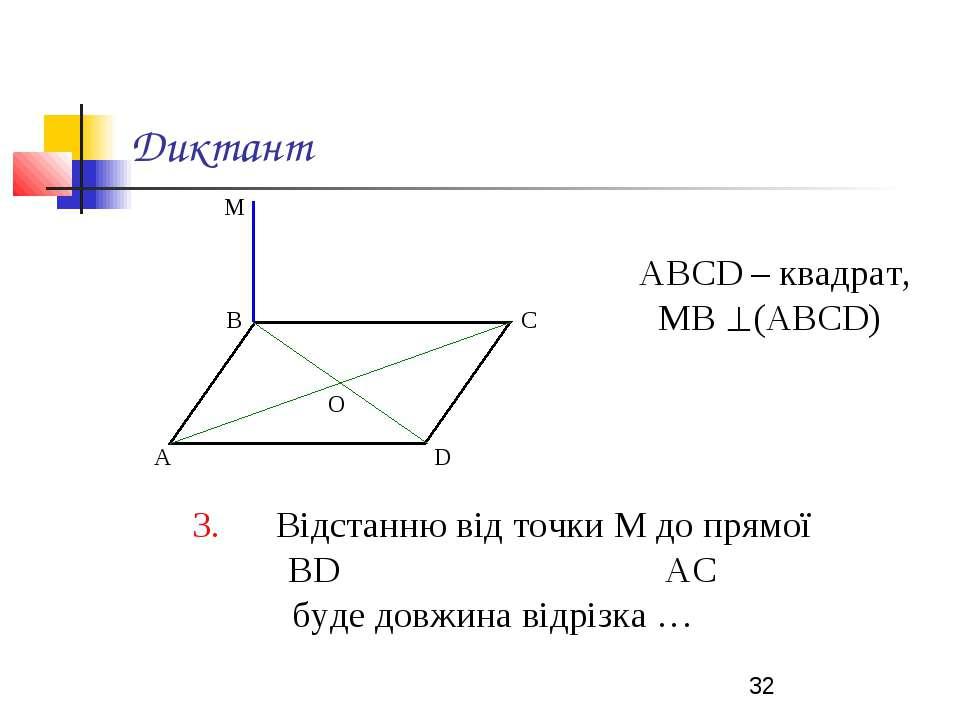 Диктант АВСD – квадрат, МВ (АВСD) 3. Відстанню від точки М до прямої ВD АС бу...