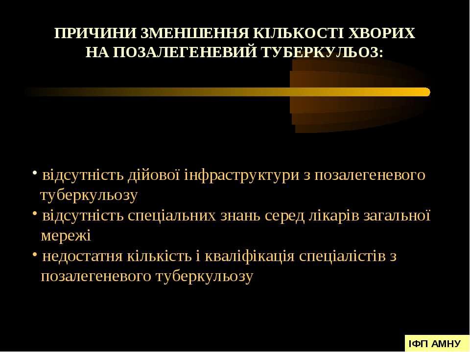 ПРИЧИНИ ЗМЕНШЕННЯ КІЛЬКОСТІ ХВОРИХ НА ПОЗАЛЕГЕНЕВИЙ ТУБЕРКУЛЬОЗ: відсутність ...