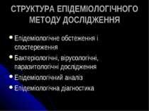 СТРУКТУРА ЕПІДЕМІОЛОГІЧНОГО МЕТОДУ ДОСЛІДЖЕННЯ Епідеміологічне обстеження і с...