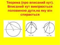 Теорема (про вписаний кут). Вписаний кут вимірюється половиною дуги,на яку ві...
