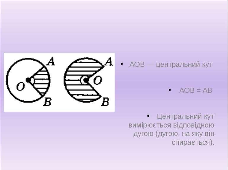 AOB — центральний кут AOB = AB Центральний кут вимірюється відповідною дугою ...