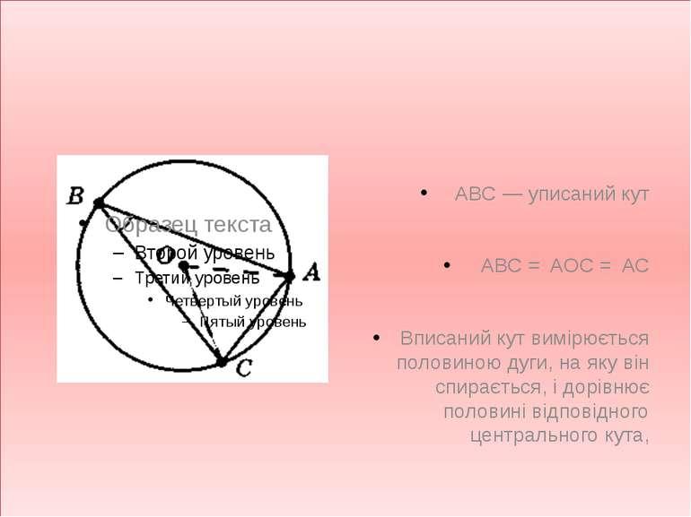 ABC — уписаний кут ABC = AOC = AC Вписаний кут вимірюється половиною дуги, на...