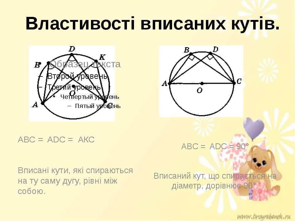 Властивості вписаних кутів. ABC = ADC = 90° Вписаний кут, що спирається на ді...