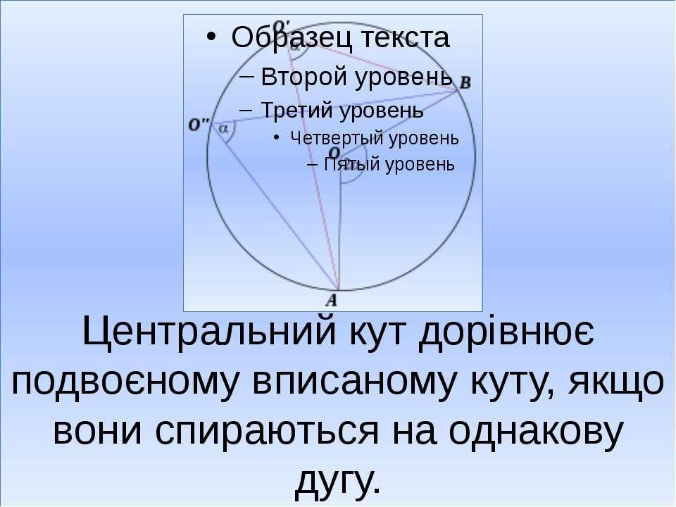 Центральний кут дорівнює подвоєному вписаному куту, якщо вони спираються на о...