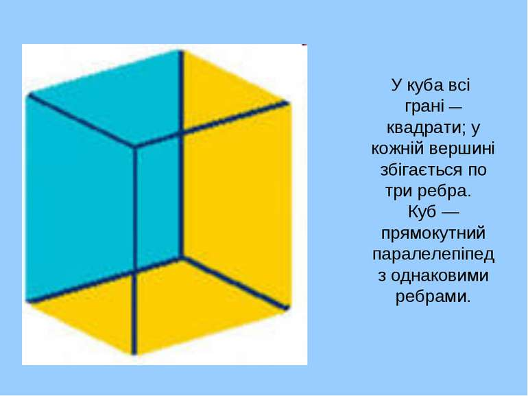 У куба всі грані — квадрати; у кожній вершині збігається по три ребра. Куб — ...