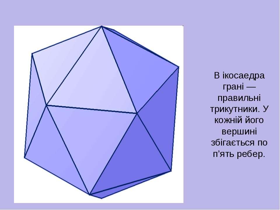 В ікосаедра грані — правильні трикутники. У кожній його вершині збігається по...