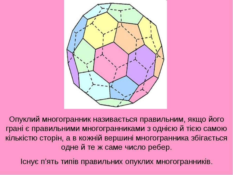Опуклий многогранник називається правильним, якщо його грані є правильними мн...