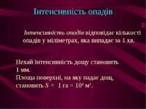 Інтенсивність опадів Інтенсивність опадів відповідає кількості опадів у мілім...