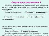 Оператор розгалуження if Оператор розгалуження призначений для виконання тих ...