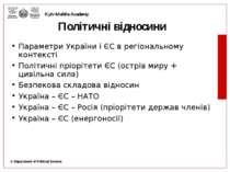 Політичні відносини Параметри України і ЄС в регіональному контексті Політичн...