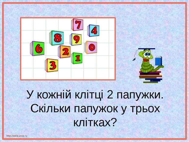 У кожній клітці 2 папужки. Скільки папужок у трьох клітках? http://aida.ucoz.ru