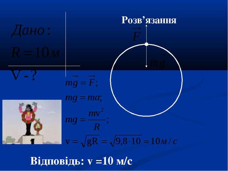 Розв'язання Відповідь: v =10 м/с