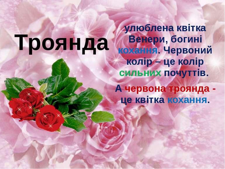 улюблена квітка Венери, богині кохання. Червоний колір – це колір сильних поч...