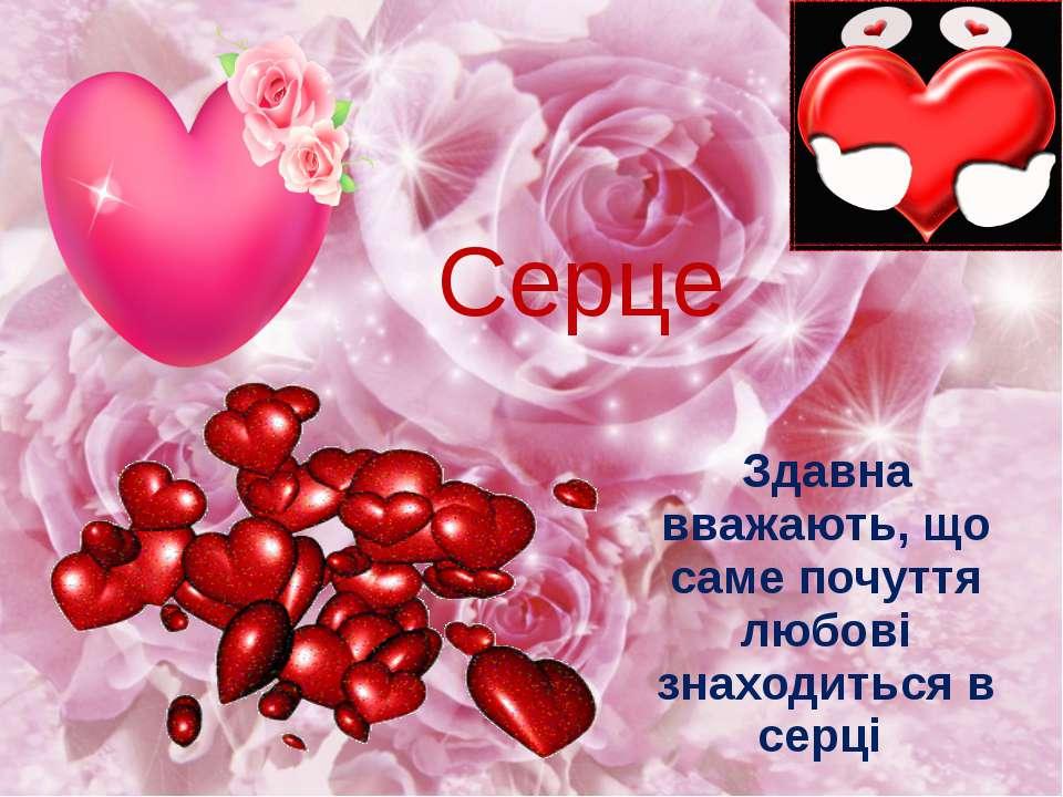 Серце Здавна вважають, що саме почуття любові знаходиться в серці