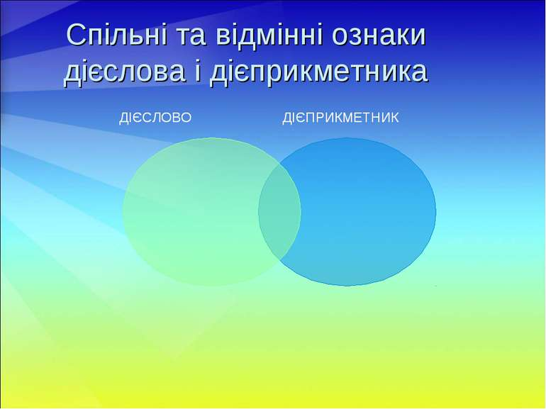 Спільні та відмінні ознаки дієслова і дієприкметника ДІЄСЛОВО ДІЄПРИКМЕТНИК