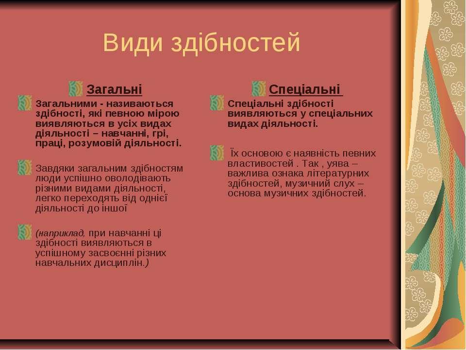 Види здібностей Загальні Загальними - називаються здібності, які певною мірою...