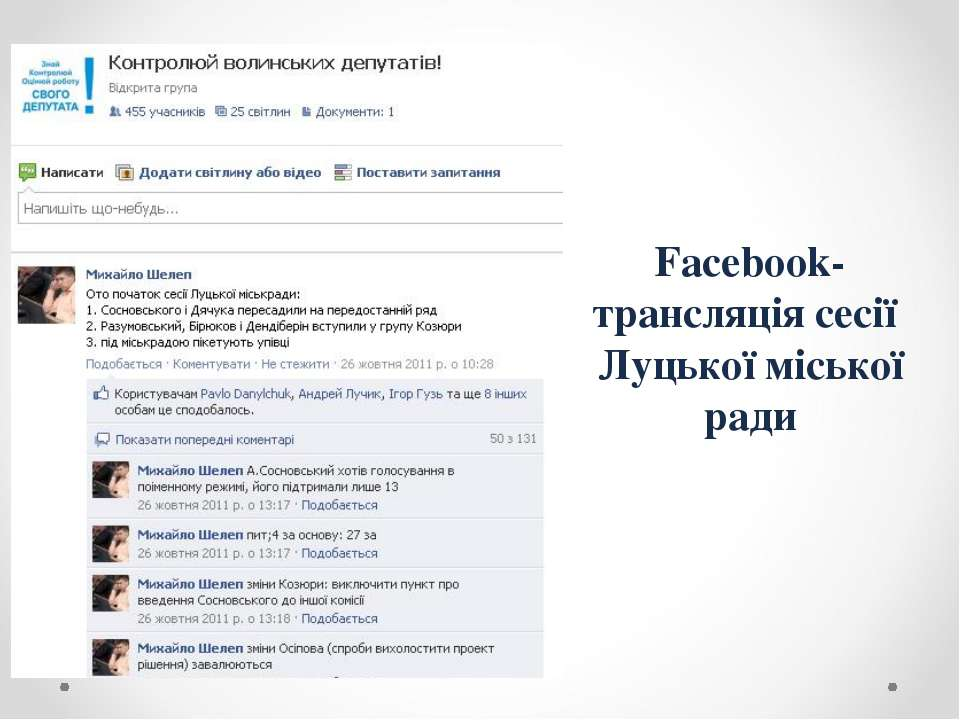 Facebook-трансляція сесії Луцької міської ради