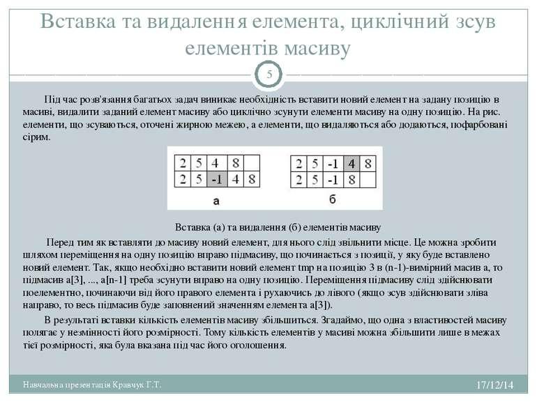 Вставка та видалення елемента, циклічний зсув елементів масиву Під час розв'я...