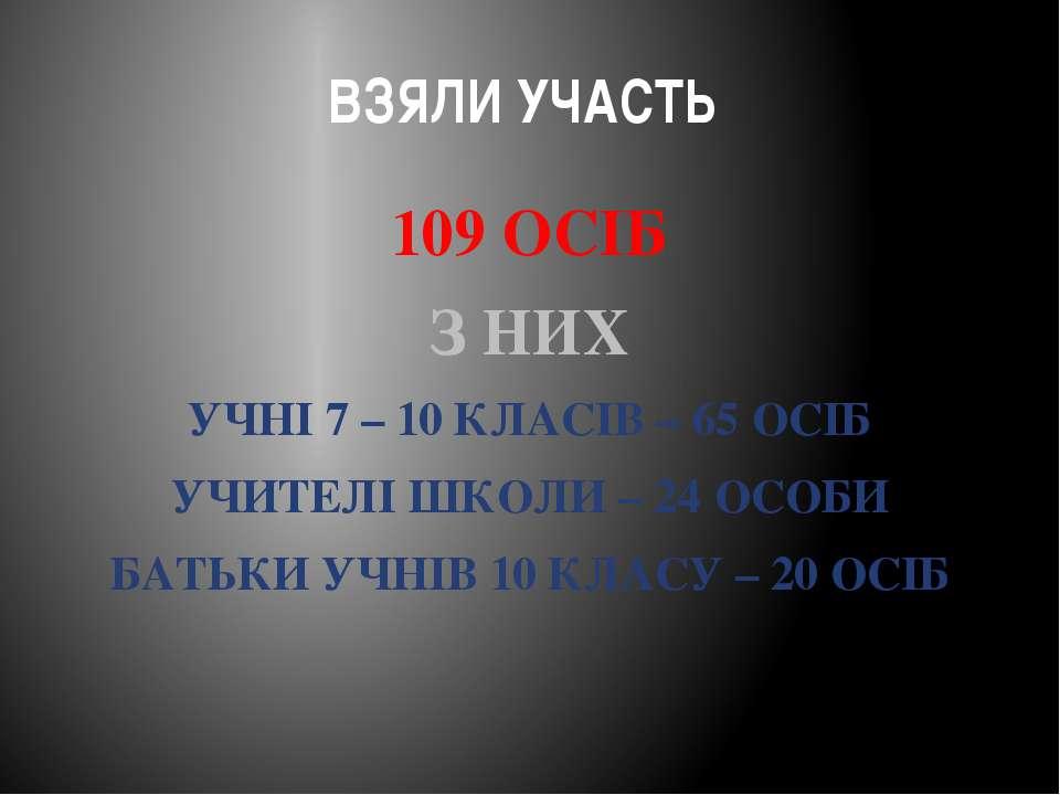 ВЗЯЛИ УЧАСТЬ 109 ОСІБ З НИХ УЧНІ 7 – 10 КЛАСІВ – 65 ОСІБ УЧИТЕЛІ ШКОЛИ – 24 О...