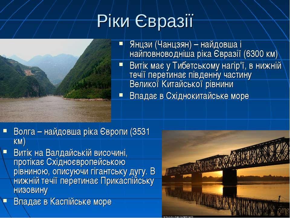 Ріки Євразії Волга – найдовша ріка Європи (3531 км) Витік на Валдайській висо...