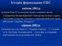 Історія формування ЄПС квітень 2002 р. засідання Ради ЄС із загальних питань ...