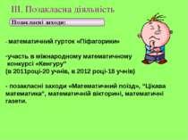 ІІІ. Позакласна діяльність Позакласні заходи: - математичний гурток «Піфагори...