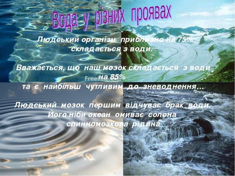 Людський організм приблизно на 75% складається з води. Вважається, що наш моз...