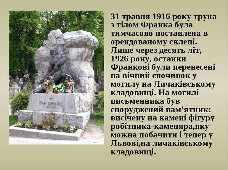 31 травня 1916 року труна з тілом Франка була тимчасово поставлена в орендова...