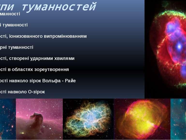 типи туманностей -Темні туманності -Відбивні туманності -Туманності, іонизова...