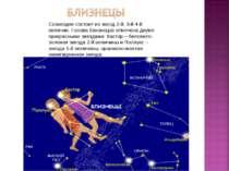 Созвездие состоит из звезд 2-й, 3-й 4-й величин. Голова близнецов отмечена дв...
