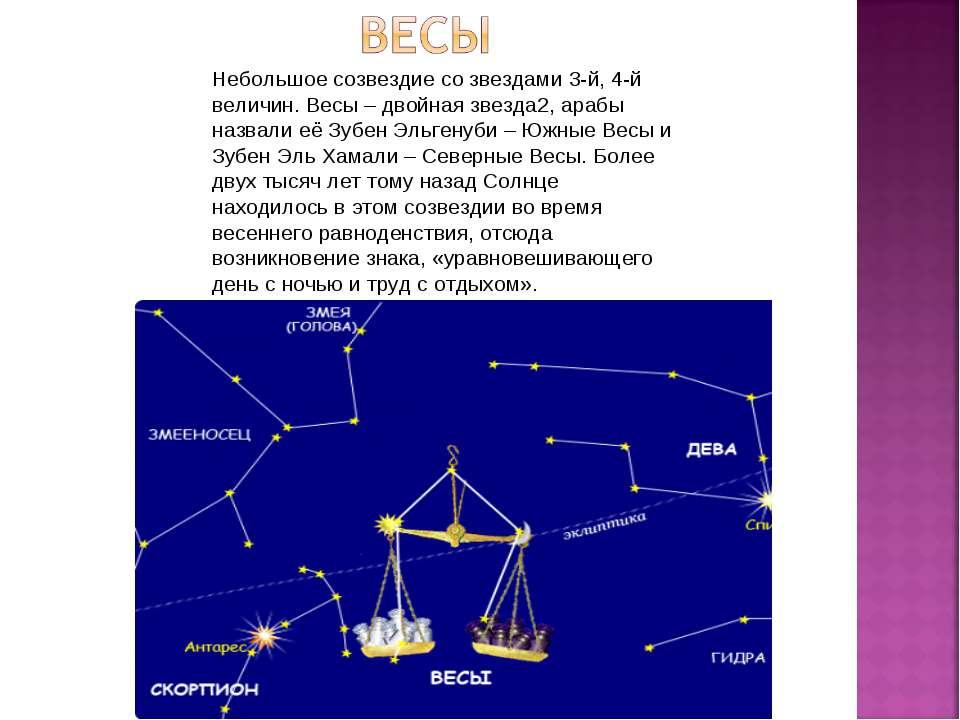 Небольшое созвездие со звездами 3-й, 4-й величин. Весы – двойная звезда2, ара...