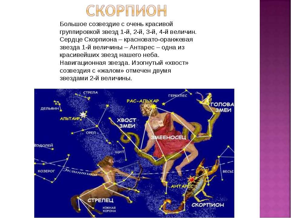 Большое созвездие с очень красивой группировкой звезд 1-й, 2-й, 3-й, 4-й вели...
