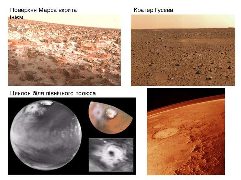 Кратер Гусєва Поверхня Марса вкрита інієм Циклон біля північного полюса