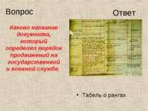Табель о рангах Каково название документа, который определял порядок продвиже...